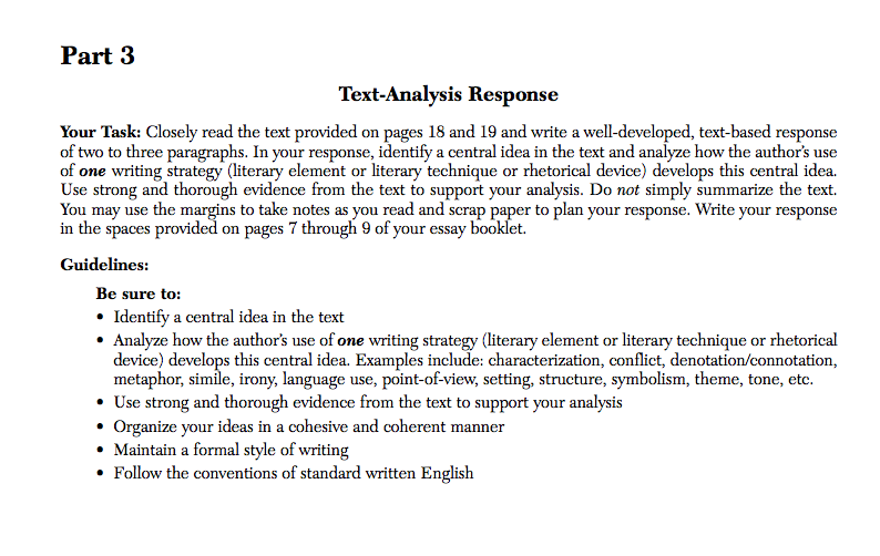 english regents essay sample