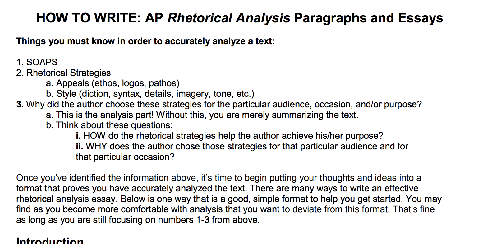 strategies for writing rhetorical essays In choosing essays for the students to work with, i was trying to find some that have unique rhetorical devices that we haven't really covered in class up to this point so the students experience the challenge of analyzing these without my guidance.